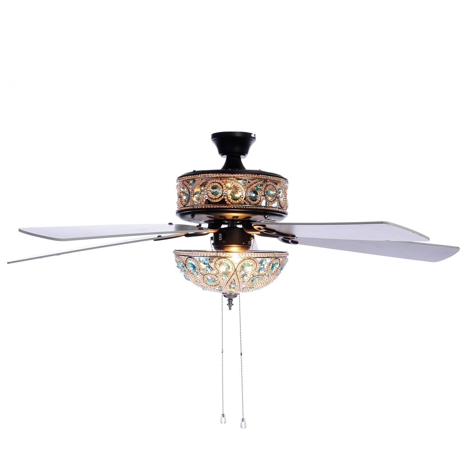 """River of Goods  50"""" Chandelier Crystal Ceiling Fan with R..."""