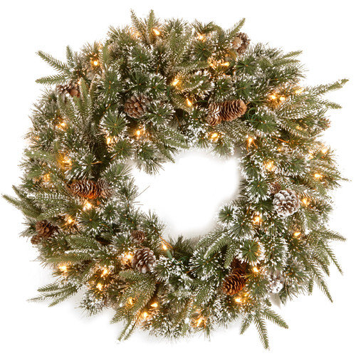 National Tree Co. Liberty Pine Wreath with Snow Pinecones with 50 Clear Lights