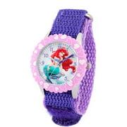 Ariel Girls' Stainless Steel with Bezel Watch, Purple Nylon Strap