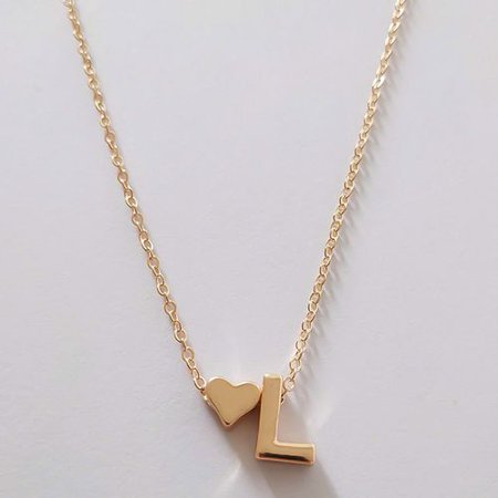 Fancyleo Fashion Simple Metal 26 English Letter Love Heart Necklace Trendy Sweet Clavicular Chain Jewelry Accessories