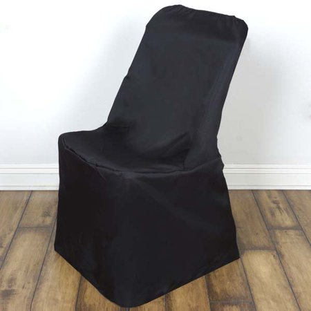 Polyester Wedding Event Lifetime Folding Chair Cover, Black (Wedding Chairs)