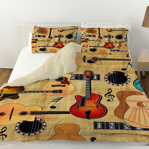 Manual Woodworkers & Weavers Guitar Collage Cream Duvet Cover
