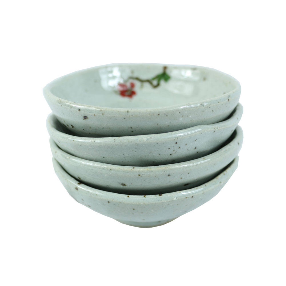 3.75 in Handmade Condiment Relish Dish Glazed Ceramic Dip Saucer Sauce Tray The Elixir Eco Green Set of 4