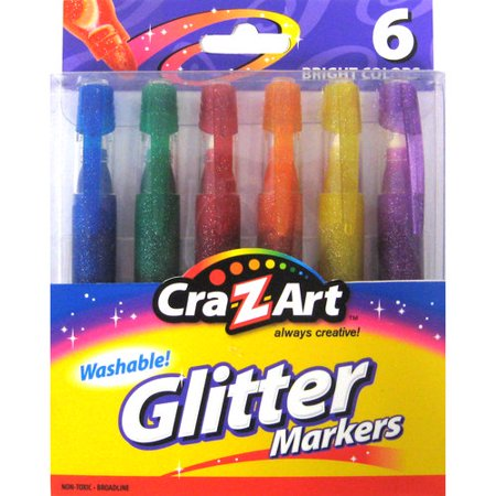 Cra-Z-Art Washable Glitter Markers - 6 Count