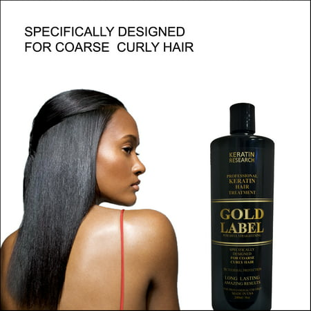Keratin Research Gold Label Professional Blowout Keratin Hair Treatment Super Enhanced Formula Specifically Designed for Coarse Curly Black, African, Dominican and Brazilian Hair types