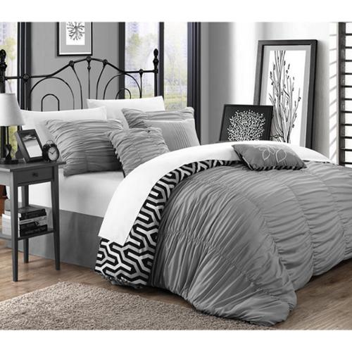 Chic Home Lester Silver Pleated Ruffled 11-piece Bed in a Bag with Sheet Set King Silver