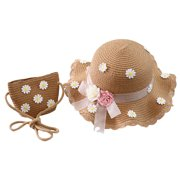 SANUME Baby Girl Little Daisy Sun Hat, Children'S Outdoor Straw Hat, Baby Handmade Beach Hat And Hand-Woven Pouch