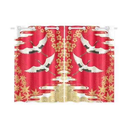 CADecor Japanese Style Window Kitchen Curtain, Cranes Cherry and Maple Window Treatment Panel Curtains,26x39 inches,Set of 2 ()