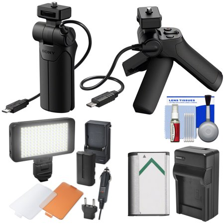 Sony VCT-SGR1 Shooting Grip + Mini Tripod with Battery + Charger + LED Video Light + Diffuser Dish + Kit (Sony Video Mixer)