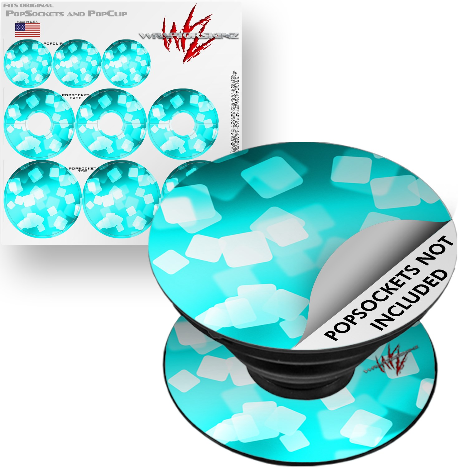 Decal Style Vinyl Skin Wrap 3 Pack for PopSockets Bokeh Squared Neon Teal (POPSOCKET NOT INCLUDED) by WraptorSkinz