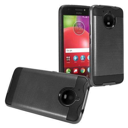 Brushed Coated Hybrid Armor Case for Motorola Moto E4 Plus - - Black Toga
