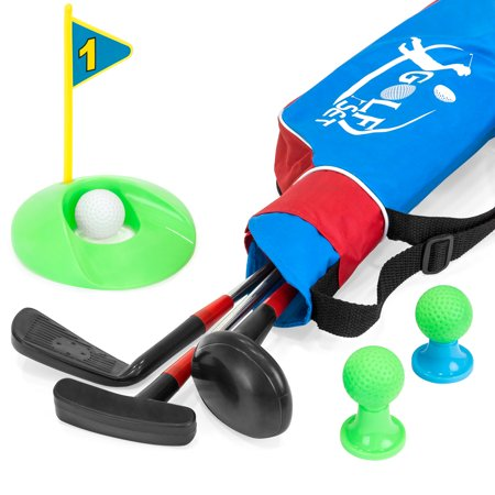 Best Choice Products 13-Piece Kids Indoor Outdoor Golf Set w/ 3 Clubs, 3 Balls, Tees, Hole, and Carrying Bag -