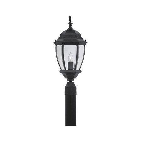- Black 1 Light 9.5in. Cast Aluminum Post Lantern from the Tiverton Collection