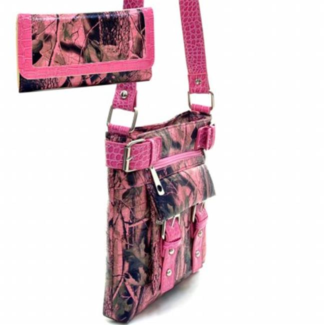 Ritz Enterprises MS100SET-PK Western Camouflage Crossbody Messenger Bag Purse With Matching Wallet - Pink