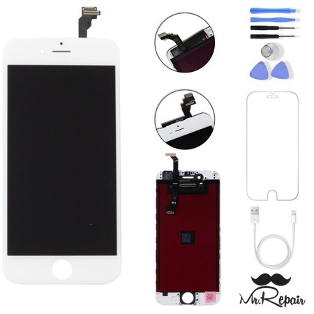 White iphone 6 LCD Display Touch Screen Digitizer Assembly Screen replacement full set with tools Mr Repair Parts Free Charger Cable (Iphone 6 Lcd Screen And Digitizer Full Assembly)