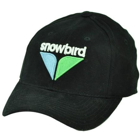 Snowbird Vacation Snow Board Ski Lodges Stretched Flex Fit S M Hat Cap Black