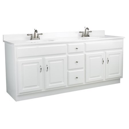 Rectangular Vanity Top (Design House 541086 Concord Unassembled 4-Door 3-Drawer Vanity without Top, 72