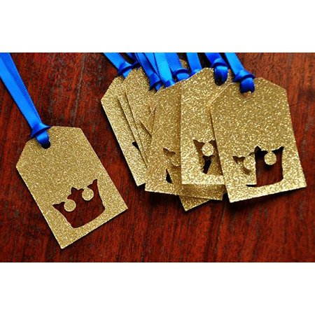 Royal Prince Baby Shower Party Favor Tags.  Ships in 1-3 Business Days.  Crown Gift Tags 10CT. (Royal Prince Baby Shower Ideas)