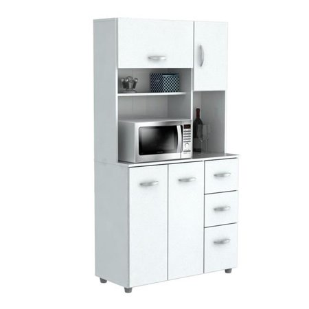 Acrylic Kitchen Cabinets - Kitchen Storage Cabinet With Microwave Cart - Laricina White