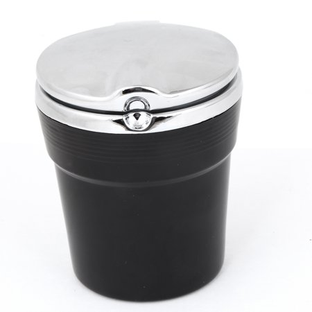 Portable Plastic Metal Cylinder Shaped Ashtray for Car, Silver Tone (Silver Ashtray)