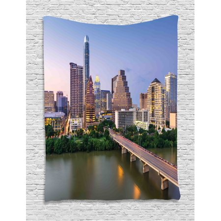 Modern Tapestry, Austin Texas American City Bridge over the Lake Skyscrapers USA Downtown Picture, Wall Hanging for Bedroom Living Room Dorm Decor, 60W X 80L Inches, Multicolor, by Ambesonne - Austin City Living Halloween Party