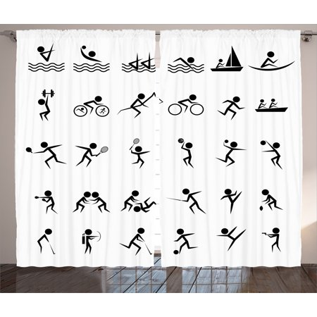 Olympics Decorations Curtains 2 Panels Set, Summer Sport Icons Collection Boating Boxing Swimming Shooting Image, Window Drapes for Living Room Bedroom, 108W X 90L Inches, Black White, by Ambesonne (Olympic Rings Decorations)