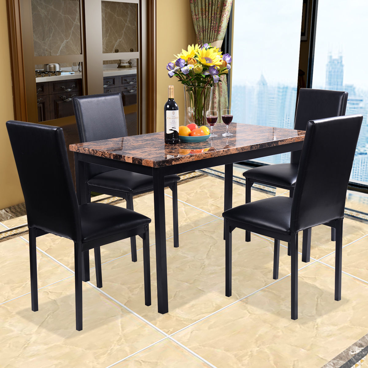 Costway 5 PC Dining Set Faux Marble Table And 4 Chairs Kitchen Dining Room  Furniture