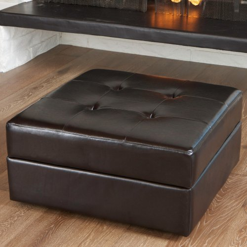 Chatsworth Leather Storage Ottoman - Brown