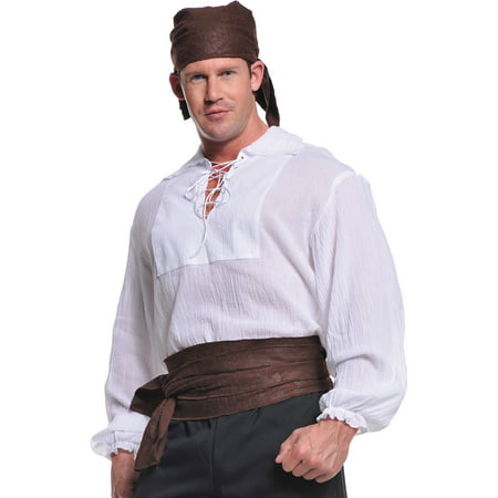Cream Pirate Shirt Adult Halloween Costume (Mens Pirate Costume)