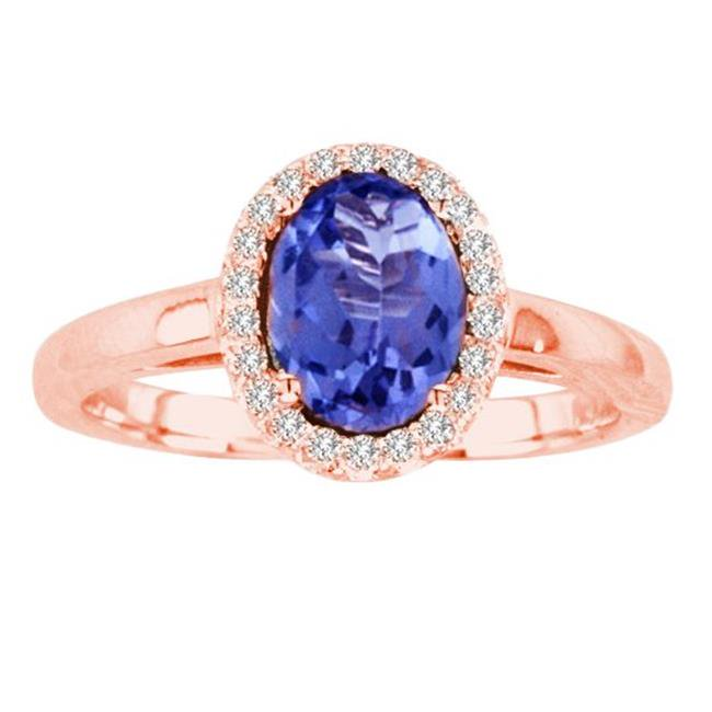 Ilano Collection R50916-14R-TZ-86-vs2 8 x 6 in. 14K Rose Gold Oval Tanzanite VS2 Gemstone Ring - image 1 of 1