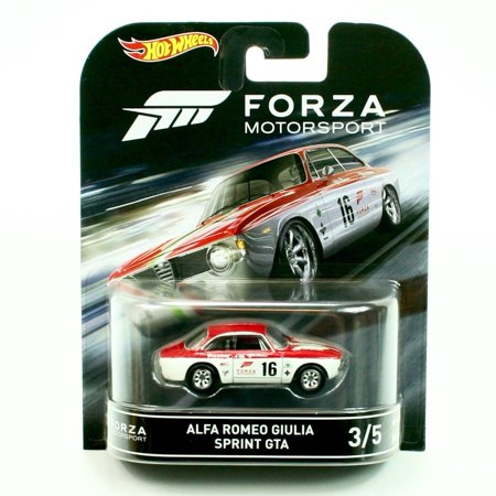Hot Wheels Retro Entertainment Forza Motorsports Alfa Romeo Giulia Sprint GTA (White/Red) Die-Cast Vehicle 3/5, ALFA ROMEO GIULIA SPRINT GTA from the.., By Retro