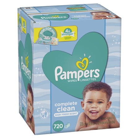 Pampers Baby Wipes Complete Clean Scented 10X Pop-Top Packs 720 Count