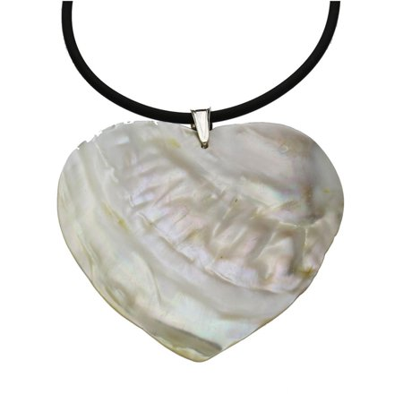 Mother-of-pearl Shell Heart Pendant Rubber Cord Necklace, 18