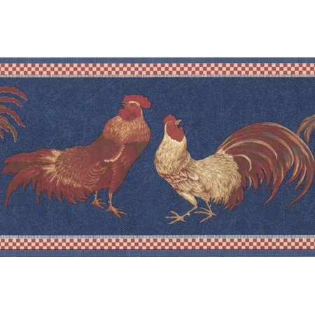 (Beige Red Rooster Blue Wallpaper Border Retro Design, Roll 15' x 7'')