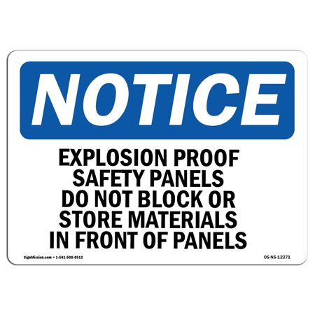 Explosion Proof Wall Mount Fixture (OSHA Notice Sign - Explosion Proof Safety Panels Do Not Block | Choose from: Aluminum, Rigid Plastic or Vinyl Label Decal | Protect Your Business, Work Site, Warehouse & Shop Area | Made in the USA )