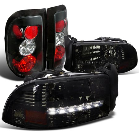 Spec-D Tuning 1997-2004 Dodge Dakota 2 4Door Smoke Led Headlights + Black Tail Brake Lights (Left + Right) 97 98 99 00 01 02 03 04