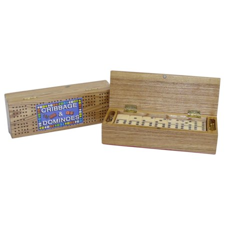 Cribbage Box with Double 6 Dominoes