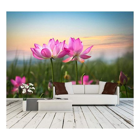 wall26 - Beautiful Lotus Flower in Blooming at Sunset - Removable Wall Mural | Self-Adhesive Large Wallpaper - 100x144 inches