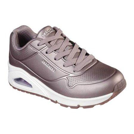 Girls' Skechers Uno Rose Bold Sneaker Pewter Kids Shoes