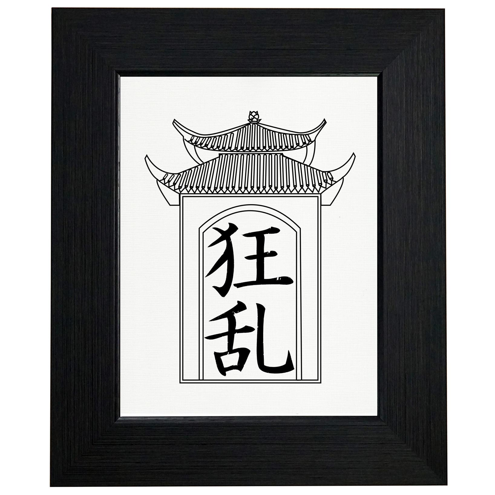 Madness - Chinese / Japanese Asian Kanji Characters Framed Print Poster Wall or Desk Mount Options