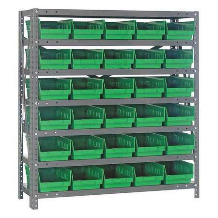 Bin Shelving,Solid,36X18,30 Bins,Green QUANTUM STORAGE SYSTEMS 1839-104GN