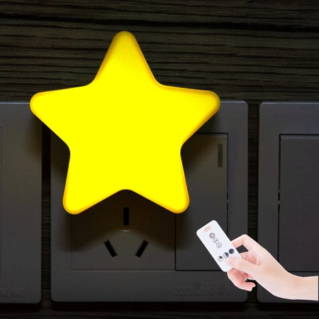 Cute Star Night Light with Dimmable Timer Remote Control 5W Plug In Wall Light Bedside Lamp