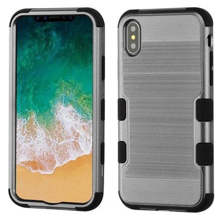 Insten Tuff Hard Hybrid Brushed TPU Cover Case For Apple iPhone 10 iPhone X 2017 - Gray/Black (Bundle with Tempered Glass Screen Protector)