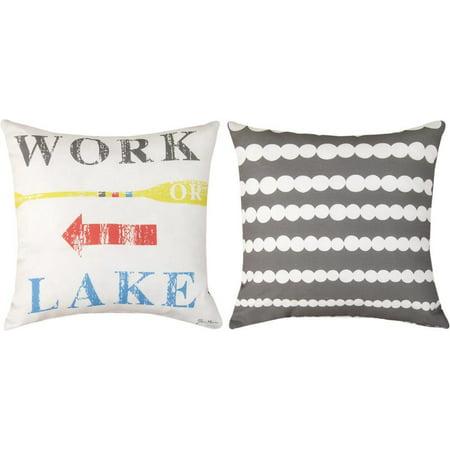 Fun Decorative Throw Pillows : Pair of Summer Fun Work or Lake Reversible Decorative Throw Pillows - Walmart.com