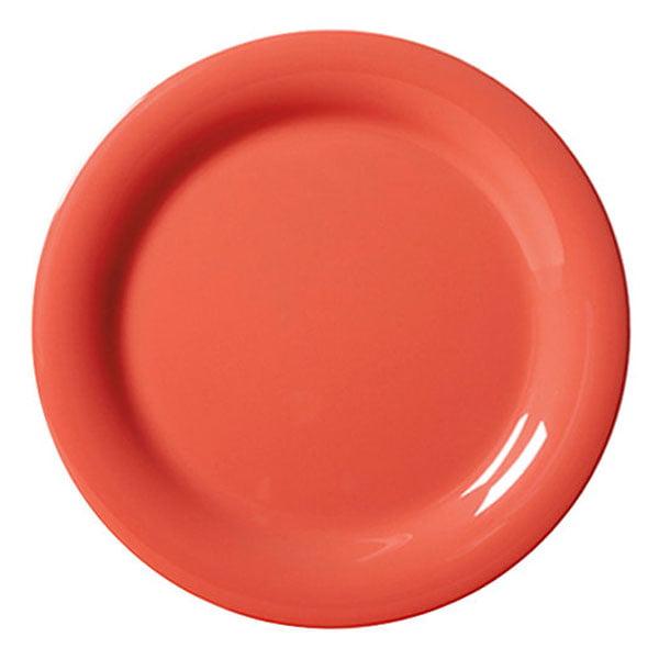 Diamond Mardi Gras 10.5 inch Narrow Rim Plate Rio Orange Melamine/Case of 12