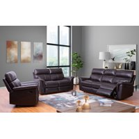 Franklin Top-Grain Leather 3-Piece Reclining Sofa, Loveseat and Chair Set
