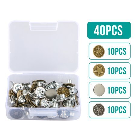 Collectible Metal Buttons - Jeans Button 40 Sets Metal Tack Buttons Replacement Kit Repair For Sewing Pants