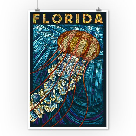 Jellyfish Paper Mosaic - Florida - Lantern Press Poster (9x12 Art Print, Wall Decor Travel Poster) (Jellyfish Paper)
