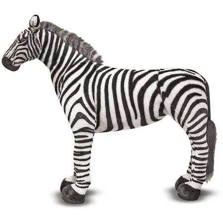 Zebra Animal Print Tote - Melissa & Doug Giant Striped Zebra, Lifelike Stuffed Animal, nearly 3' tall