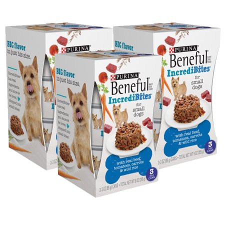 (8 Pack) Purina Beneful IncrediBites With Real Beef, Tomatoes, Carrots & Wild Rice Adult Wet Dog Food - (3) 3 oz. (Beneful Beef)